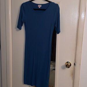 EUC! LULAROE BLUE RIBBED KNIT JULIA DRESS (M)